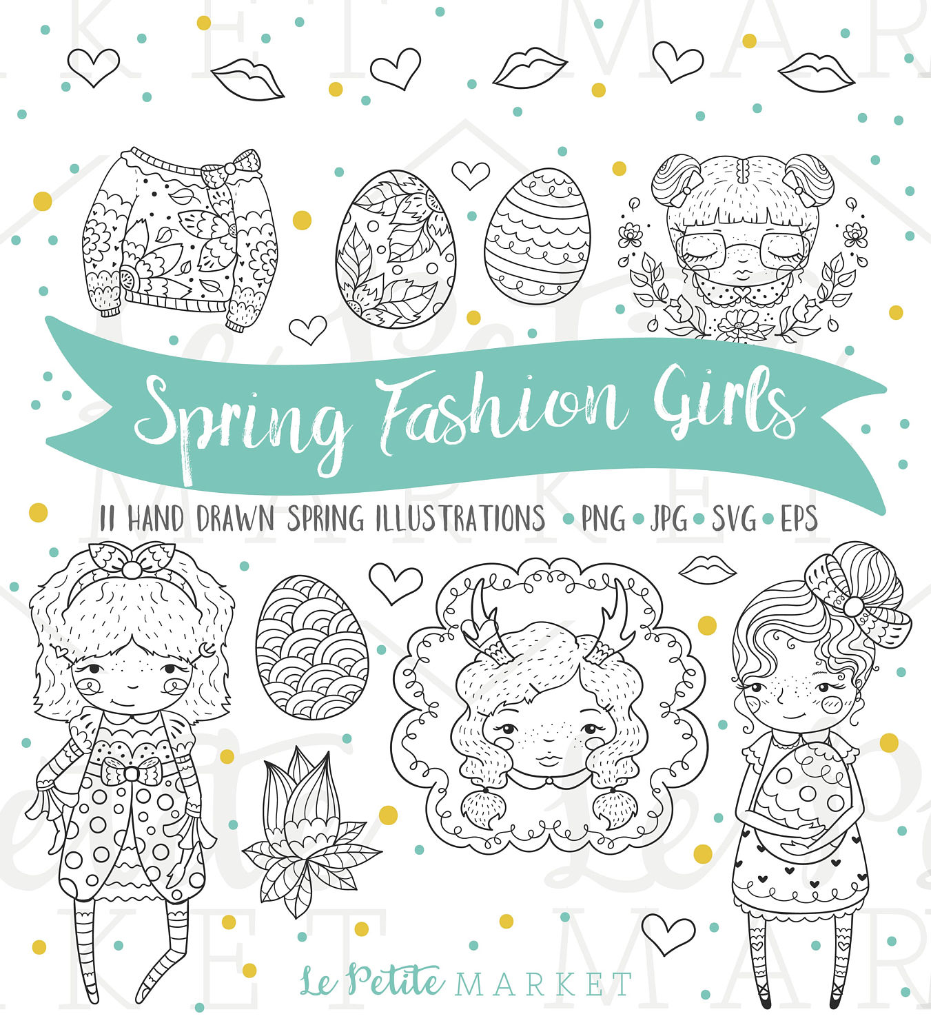 Cute Hand Drawn Easter Girls Spring Girls with Flowers Hand   Etsy