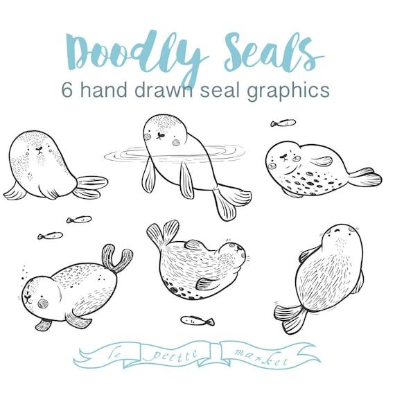 Süße Seal Clipart Bilder Hand Gezeichnete Dichtungen Etsy