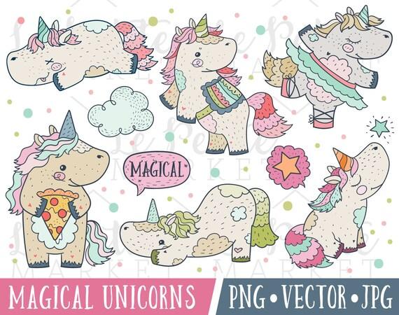 Clipart Di Unicorno Carino Impostato Unicorni Magici Etsy