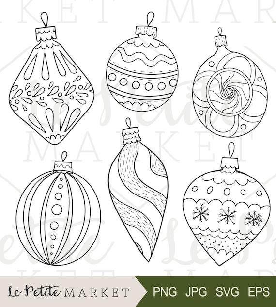 Hand Drawn Vintage Ornaments Illustrations Holiday ...