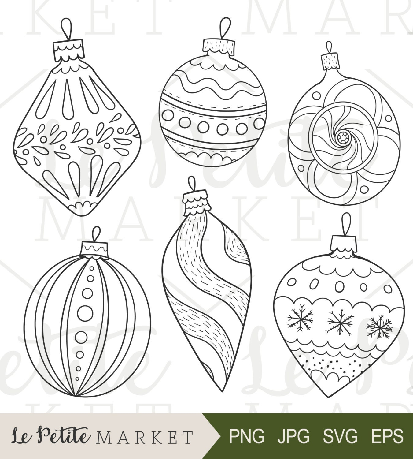 Commercial Christmas Decorations Florida: Hand Drawn Vintage Ornaments Illustrations Holiday
