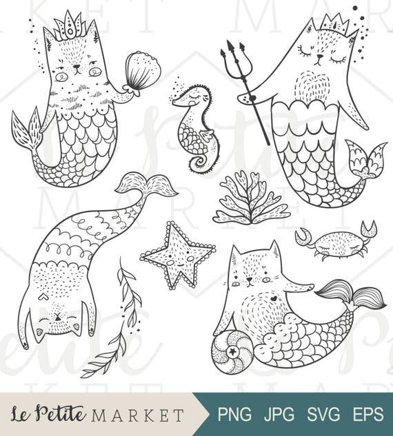 Imágenes Prediseñadas de sirena gato sirena gato Digital