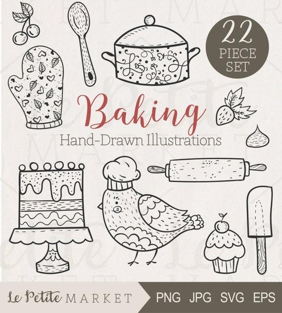 Dibujado a mano lindo hornear Clip Art Clipart de cocina | Etsy