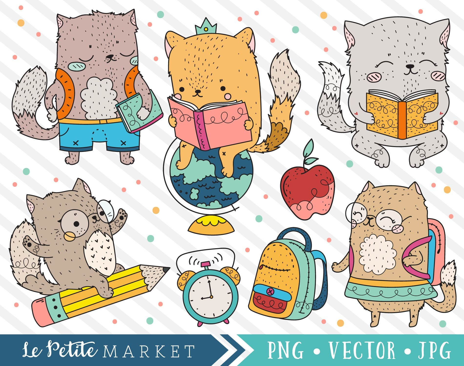cute school cat clipart images cat school clipart cute | etsy