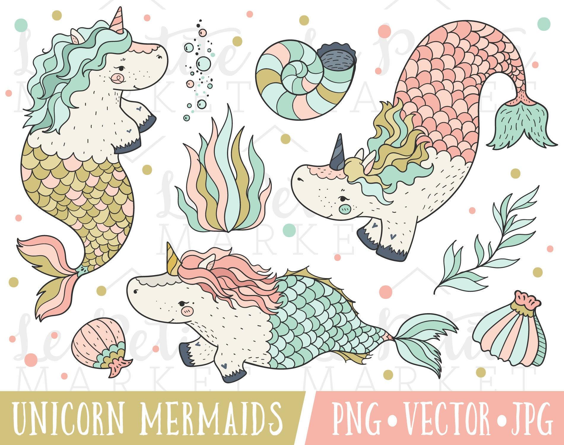 Unicorno Sirena Illustrazione Insieme Unicorn Sirena Clipart Etsy