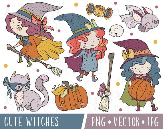 Clip Art Ensemble Illustration De Sorciere Sorciere Kawaii Etsy