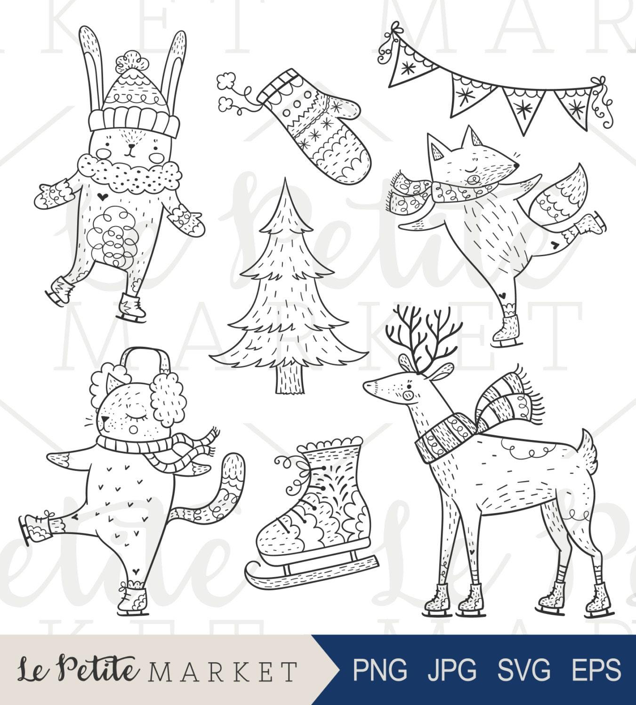 Dibujado a mano vacaciones animales del bosque patinaje sobre   Etsy