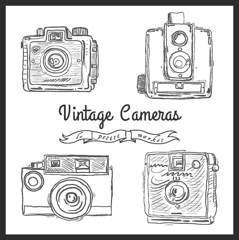 Cute Hand Drawn Camera Clip Art Vintage Illustration Camera Etsy