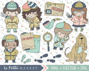 Cute Sleuth Clipart Set, Cute Detective Clip Art, Detective Kids, Investigation Clipart, Crime Scene Clipart, Detective Vector Graphics PNG