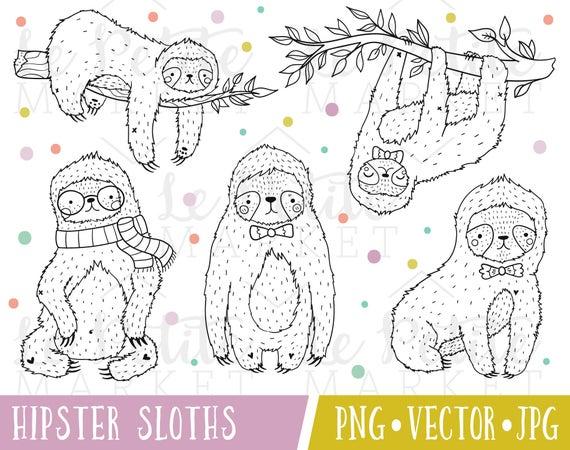 Lindo Hipster imágenes prediseñadas de pereza pereza Vector | Etsy