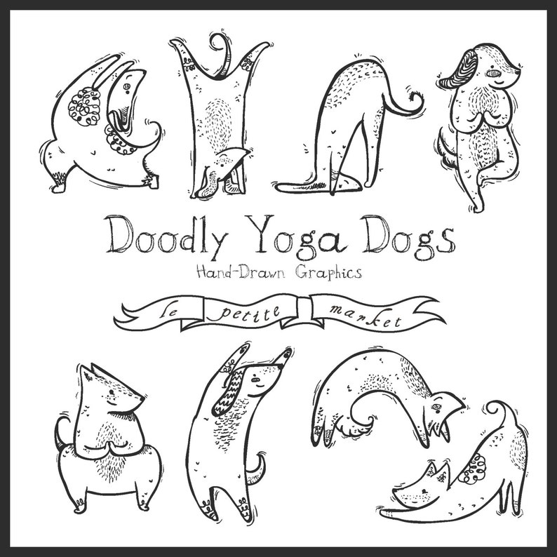 Digital Download Doodly Dog Clipart Instant Download Cute