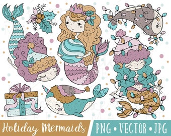 Cute Christmas Mermaid Clipart Images, Cute Holiday Mermaid Clip Art, Mermaid Christmas Illustration Set, Christmas Narwhal Clipart