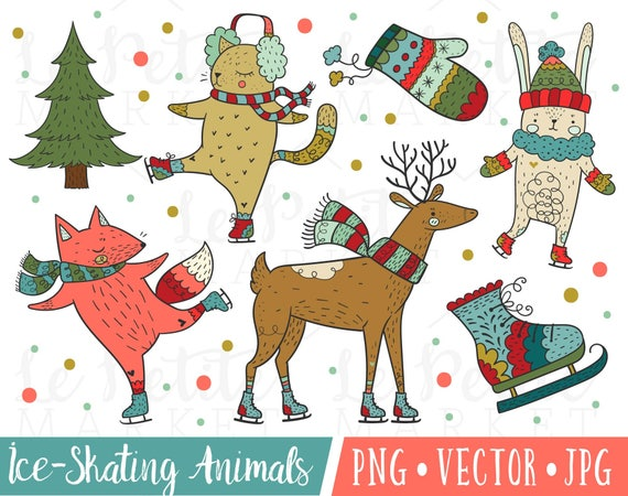 Ice skating Animals clipart Animal clipart Ice rink Ice skating clipart Woodland clipart Watercolor animal clipart