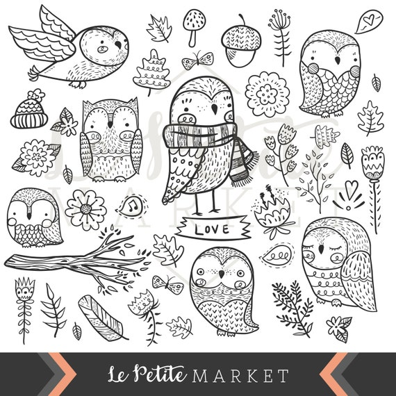 cute hand drawn owl clip art digital owl clipart doodle etsy