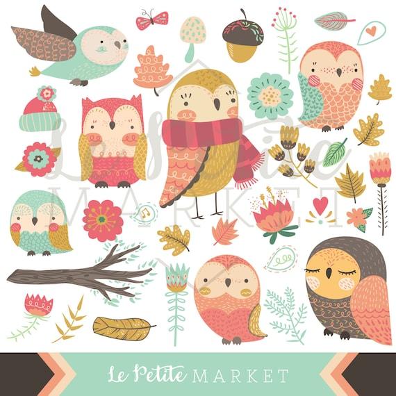 Leuke Uil Clipart Kleurrijke Vrij Pastel Owl Clipart Etsy