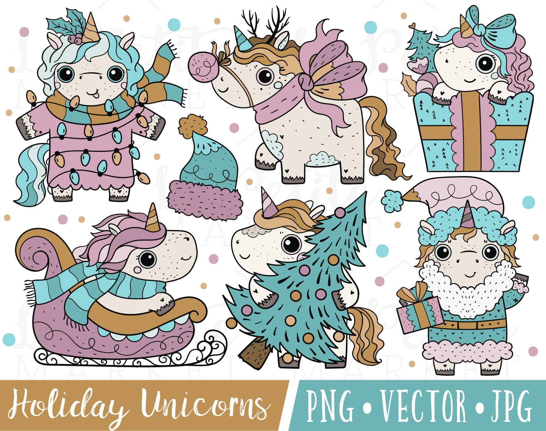 Christmas Unicorn Clipart Images Holiday Unicorn Clip Art ...