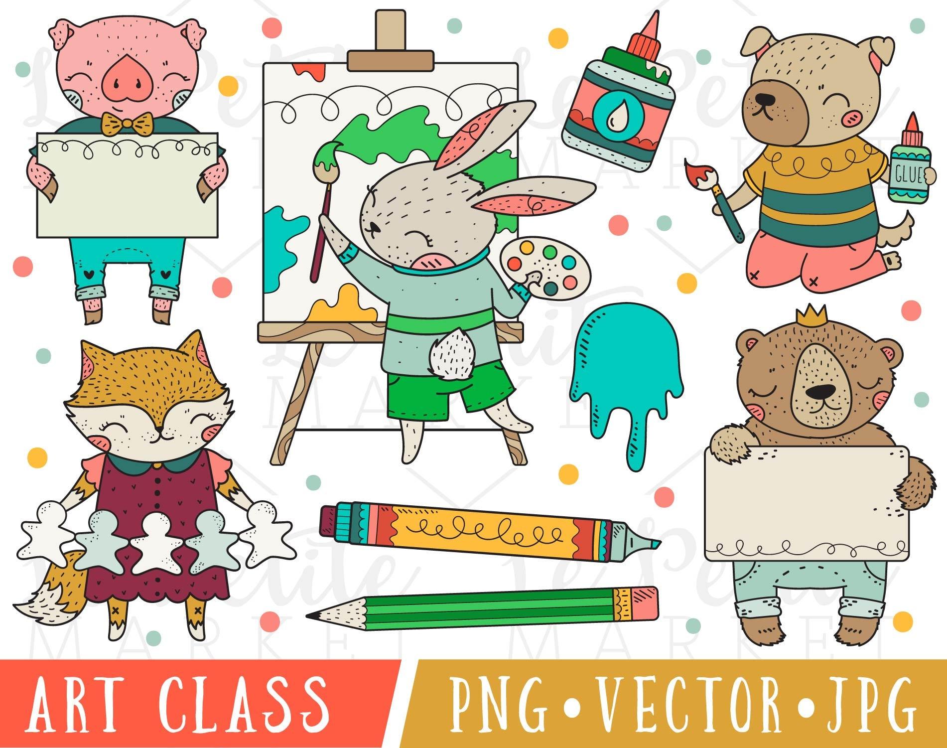 art class animals clipart images cute art class clipart art | etsy