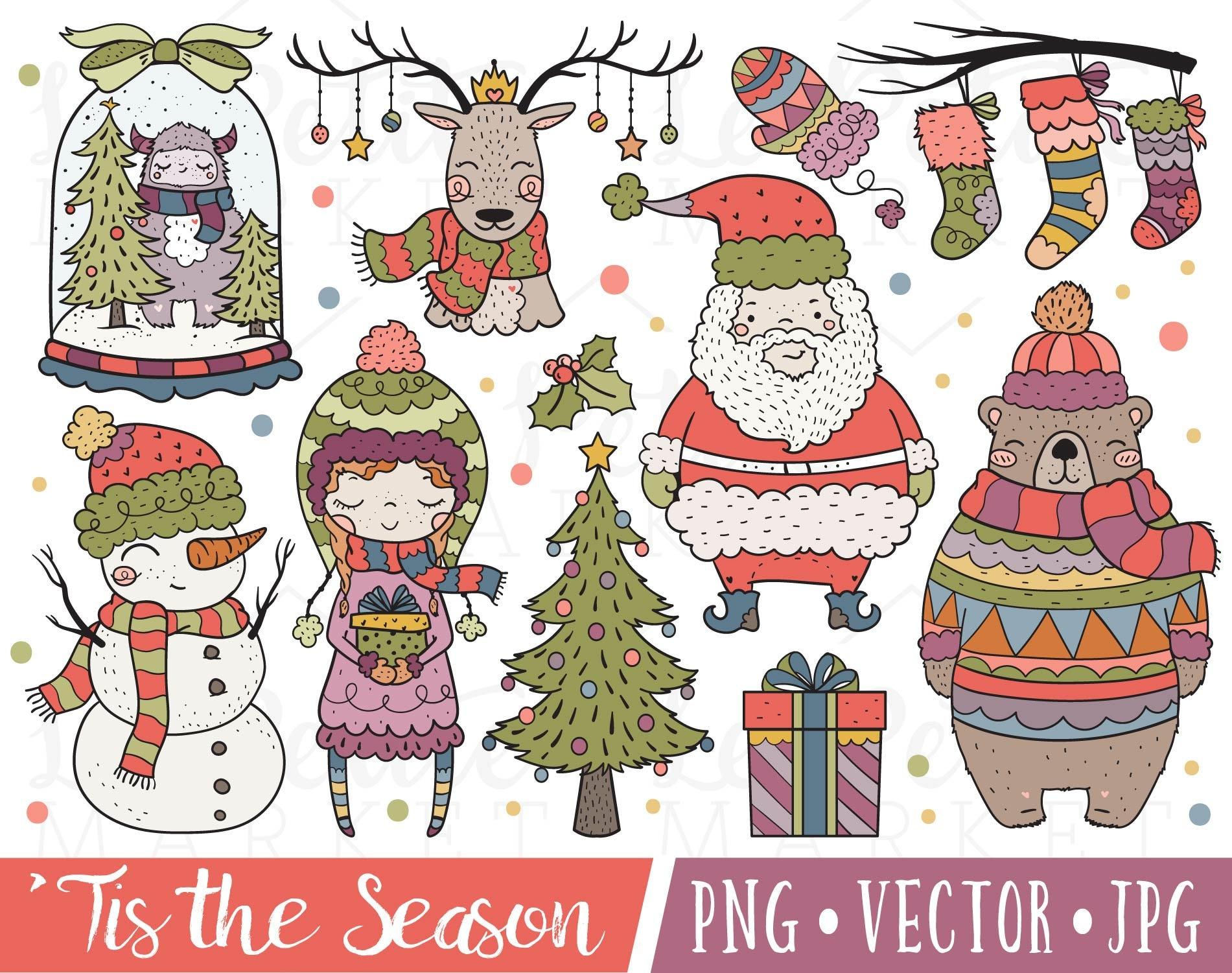 Cute Holiday Clipart Cute Christmas Clipart Kawaii Christmas | Etsy