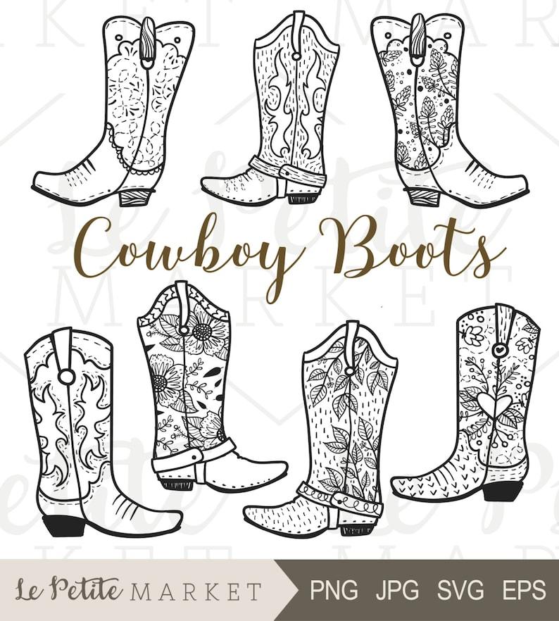 72c9b56b22775 Cowboy Boot Clip Art Hand Drawn Cowboy Boots Cowgirl Boots