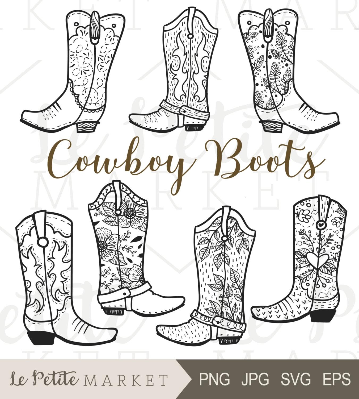 Cowboy-Stiefel ClipArt von Hand gezeichneten Cowboy-Stiefel | Etsy