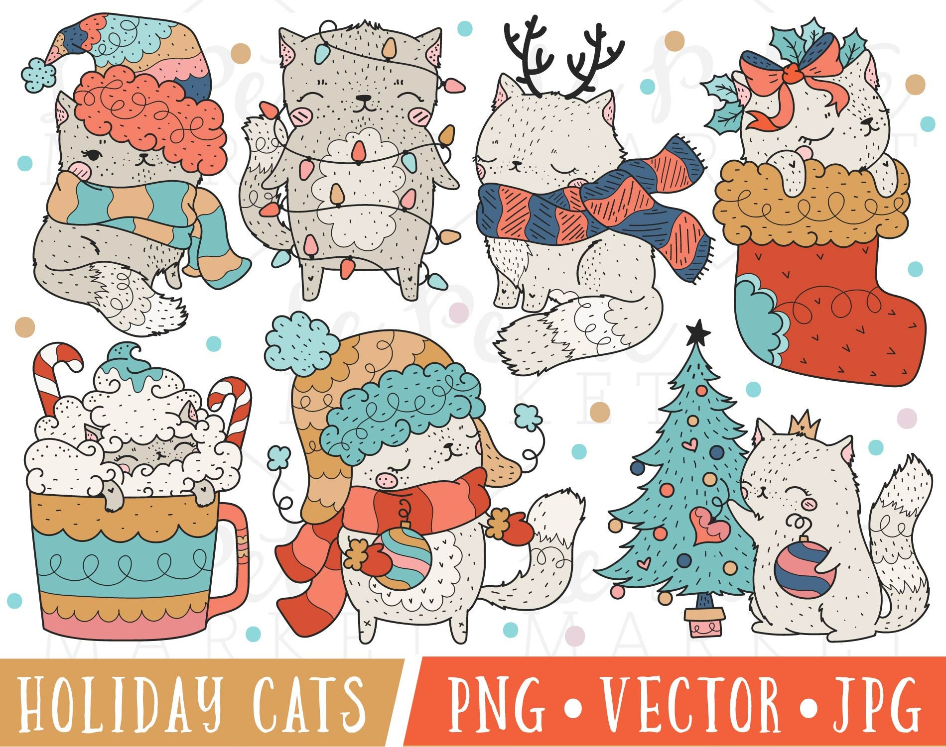 Christmas Cat Clipart Images Cute Holiday Cats Clipart Cute | Etsy