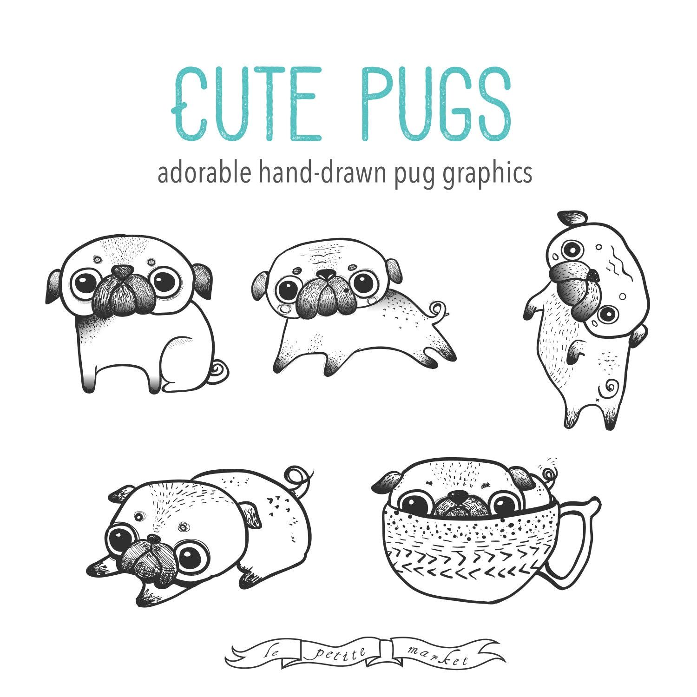 Mano dibuja lindo Pug Clipart ilustración Digital para | Etsy