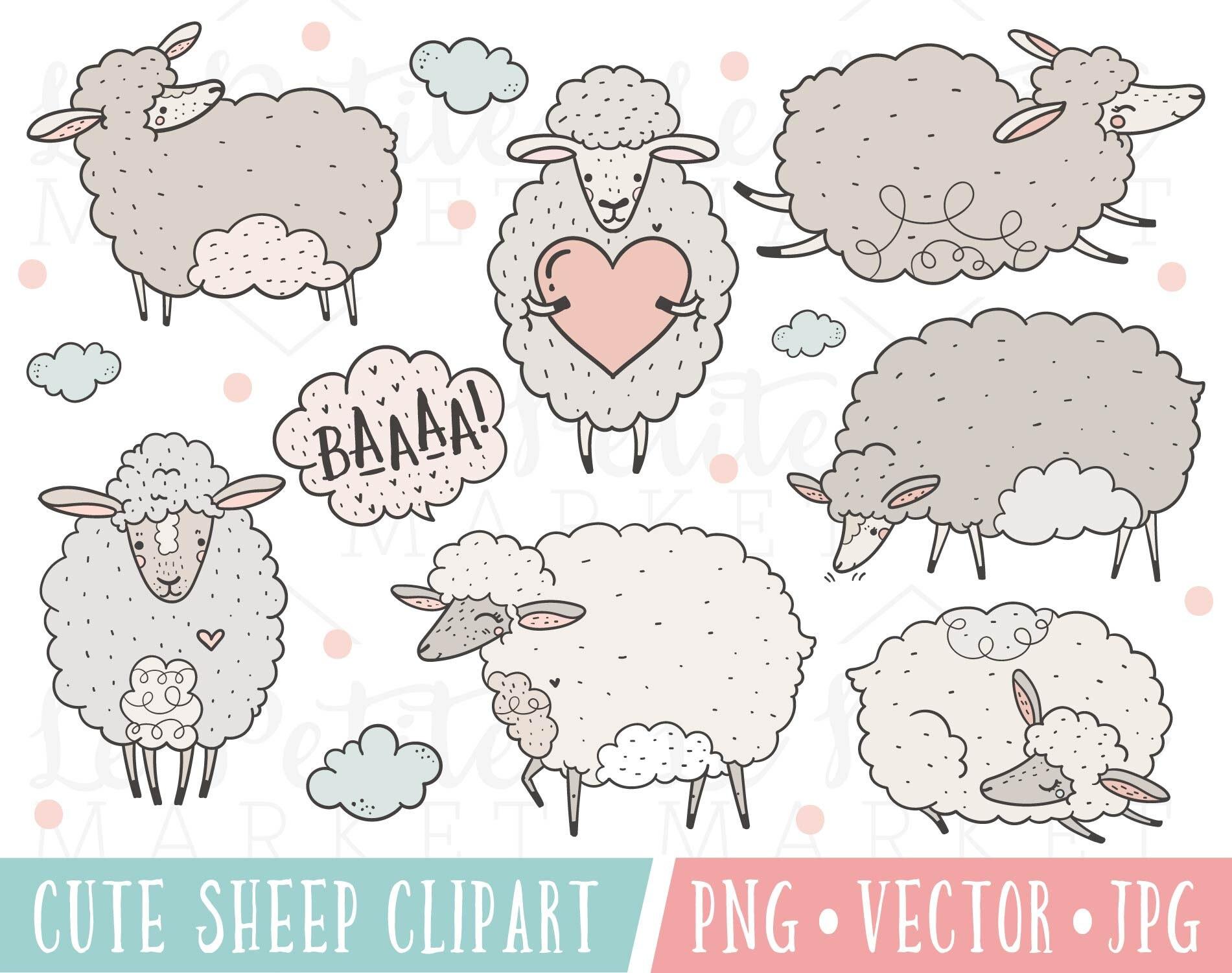 Cute Sheep Lamb Clipart Vector Images Cute Sheep ...