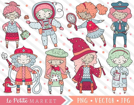 Cute Career Clipart Set Professions Clip Art Designs Cute Etsy