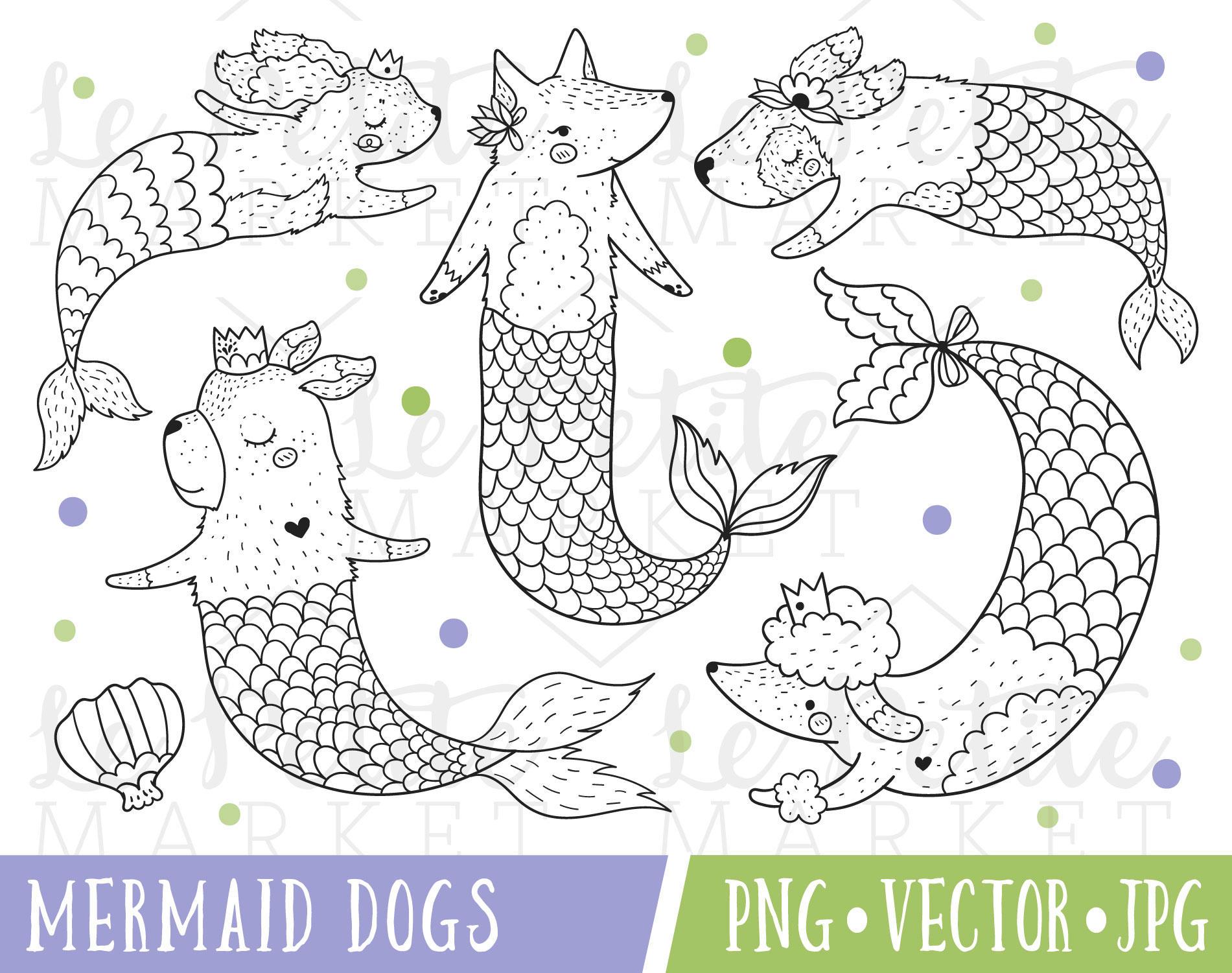 Sirena de perros Imágenes Prediseñadas imágenes prediseñadas | Etsy