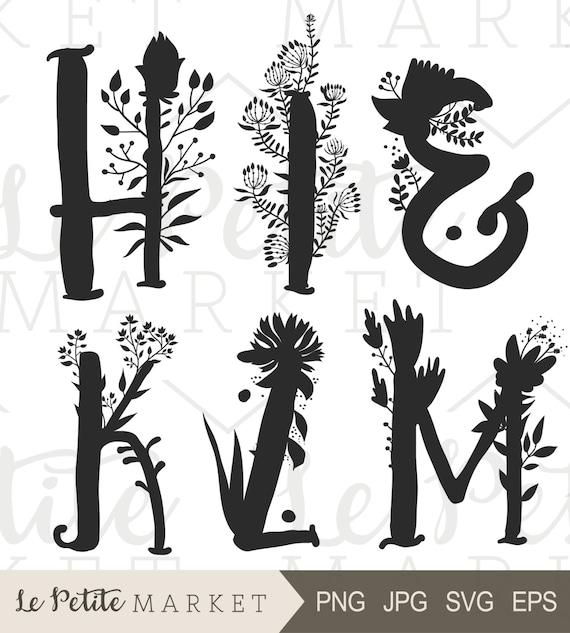 Mano alzada flores Letras alfabeto Clip Art arte infantiles | Etsy