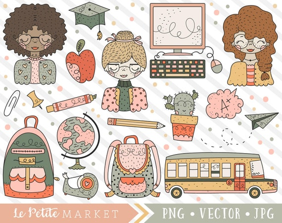Cute Education Clipart Teacher Clip Art Set Classroom Etsy
