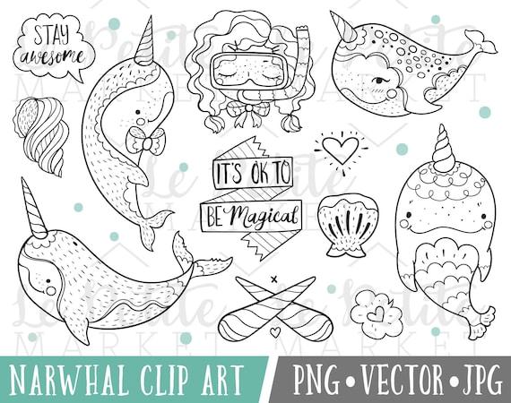 Doodle de imágenes prediseñadas de Narwhal narval mágico Clip | Etsy
