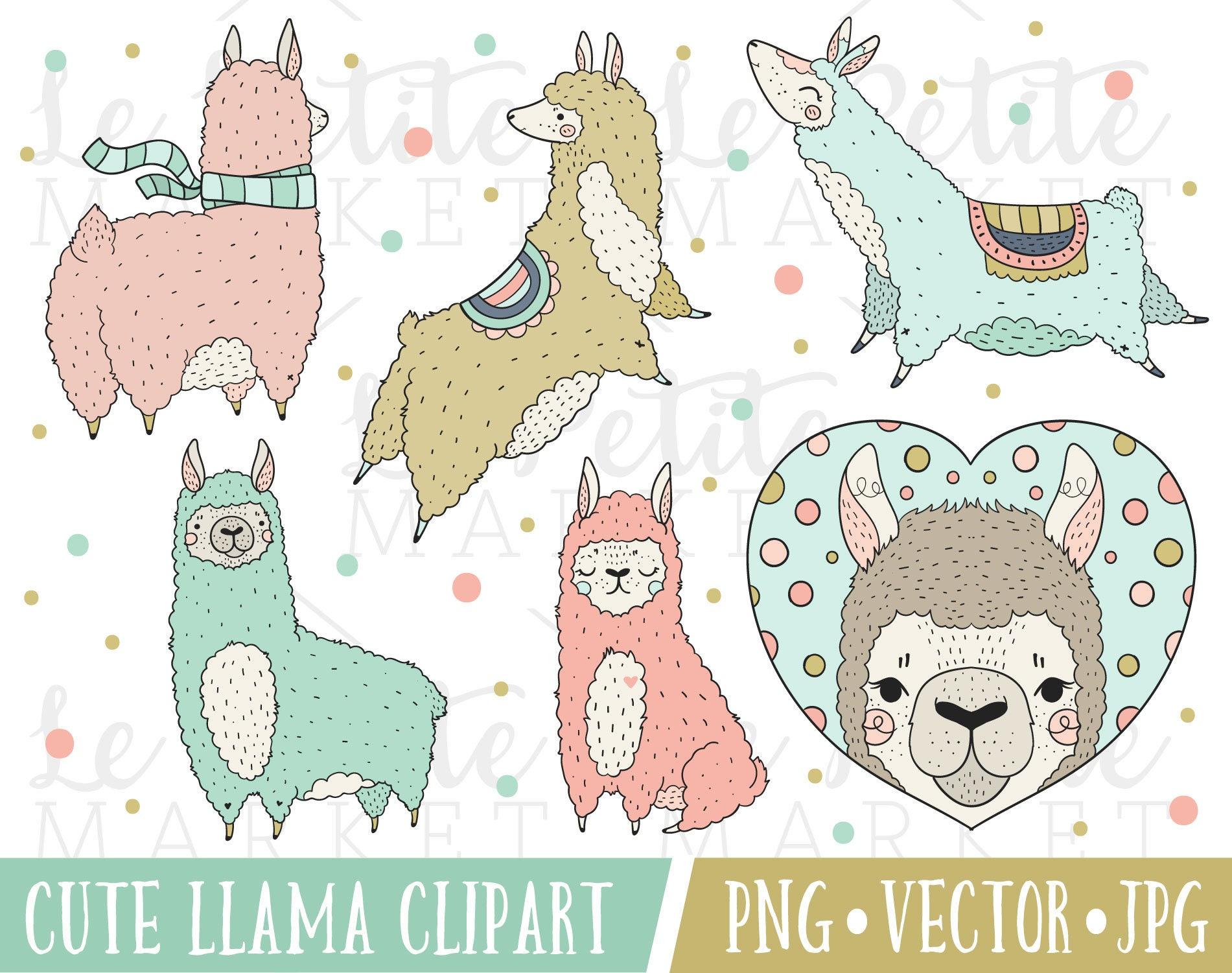 Cute Llama Illustration Set Kawaii Llama Clipart Set Llama ...