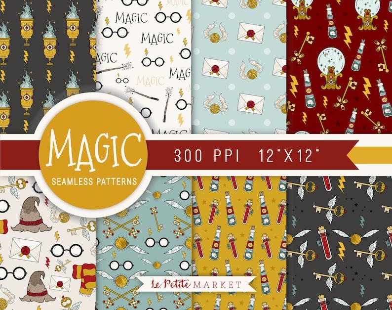 Zauberer Schule Magie Digital Paper Pack Potter Haus Farben Etsy