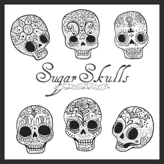 Lindo mano dibujado Digital azúcar cráneo Imágenes | Etsy