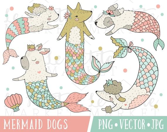 Caprichosa sirena perros Imágenes Prediseñadas imágenes | Etsy