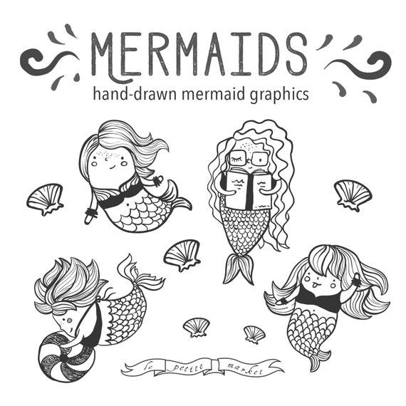 Mano dibujada sirena lindo Clip Art Clipart dibujo sirena | Etsy