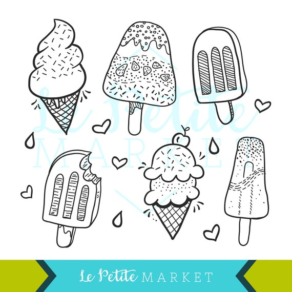 Doodle handgezeichnete Eis und Eis am Stiel ClipArt Grafiken, Dessert Cliparts, Icrecream Kegel Illustration Clipart, PNG Popsicle, DIY Färbung