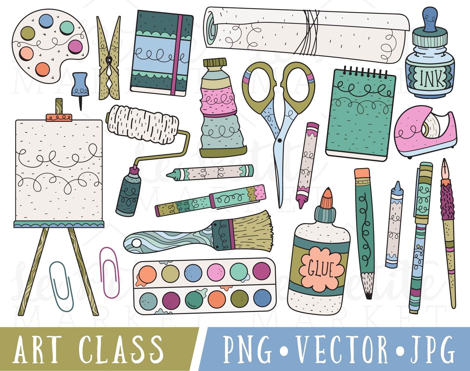 art supplies clipart art class clip art clipart for | etsy