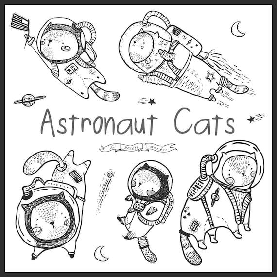 Space Cat Digital Stamps Kitten Astronaut Digital Clip Art Cate Line Art