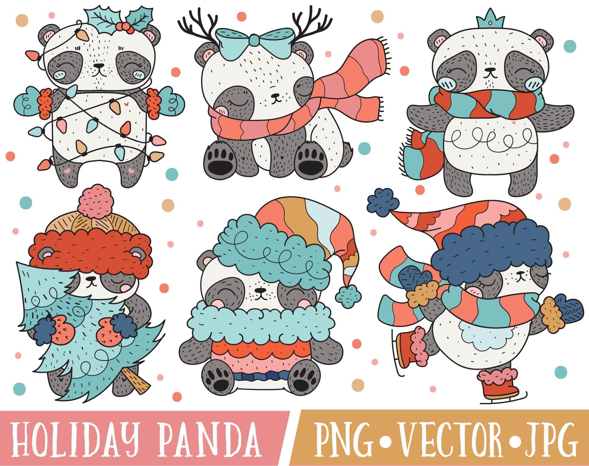 Cute Christmas Panda Bear Clipart Images Cute Holiday ...