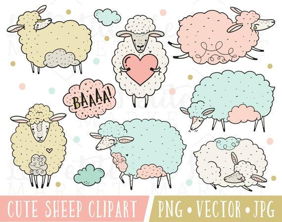 Mouton Mignon Clipart Images Clipart Animaux De Ferme Mignon Etsy