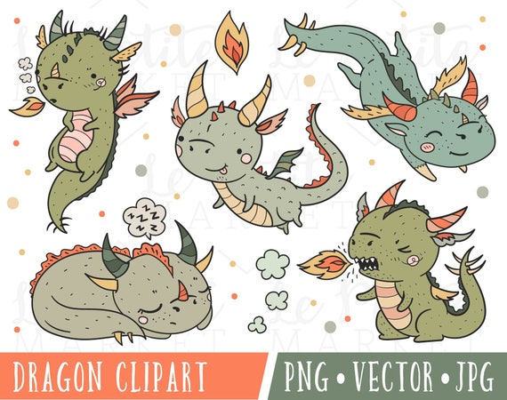 cute dragon clipart set clipart dragons kawaii dragon etsy rh etsy com Dragon Clip Art Dragon Clip Art