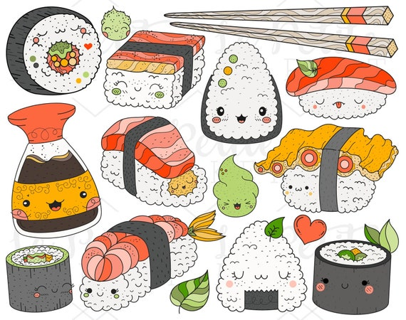 Sushi Roll Vector Clipart Asian Cuisine Sushi California - Sushi Roll  Vector - Free Transparent PNG Clipart Images Download