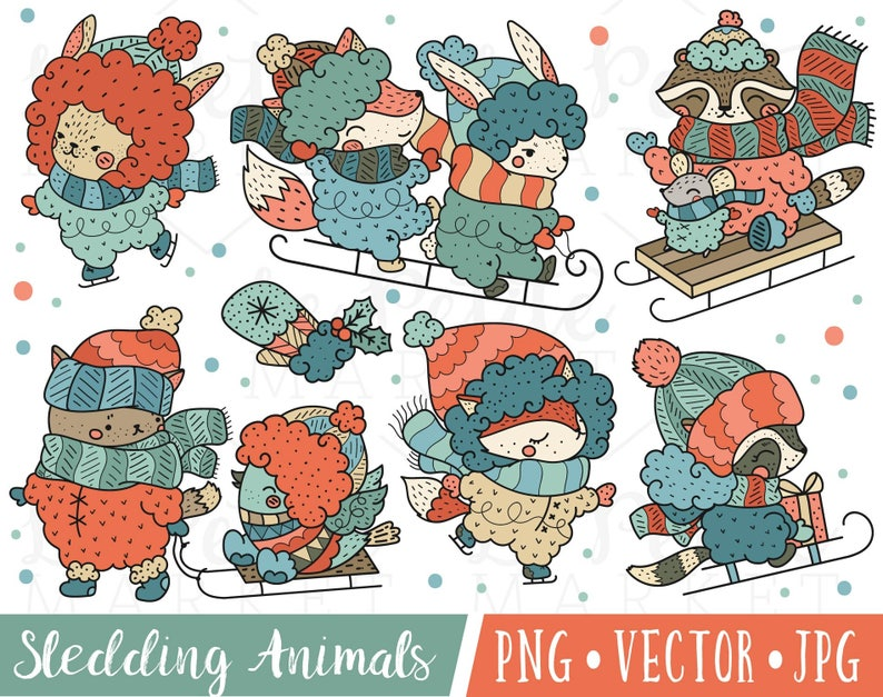 af8b47fbb76 Winter Animal Clipart Images Bundled Up Winter Clip Art