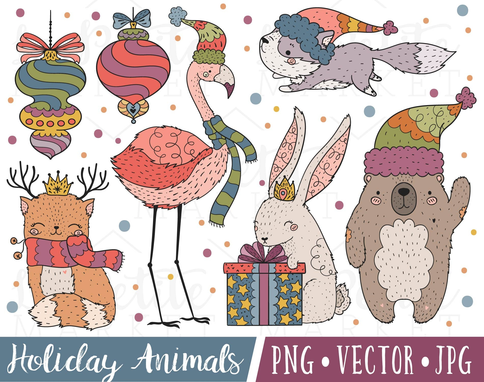 Christmas Animals Clipart Images Christmas Ornaments Clipart | Etsy