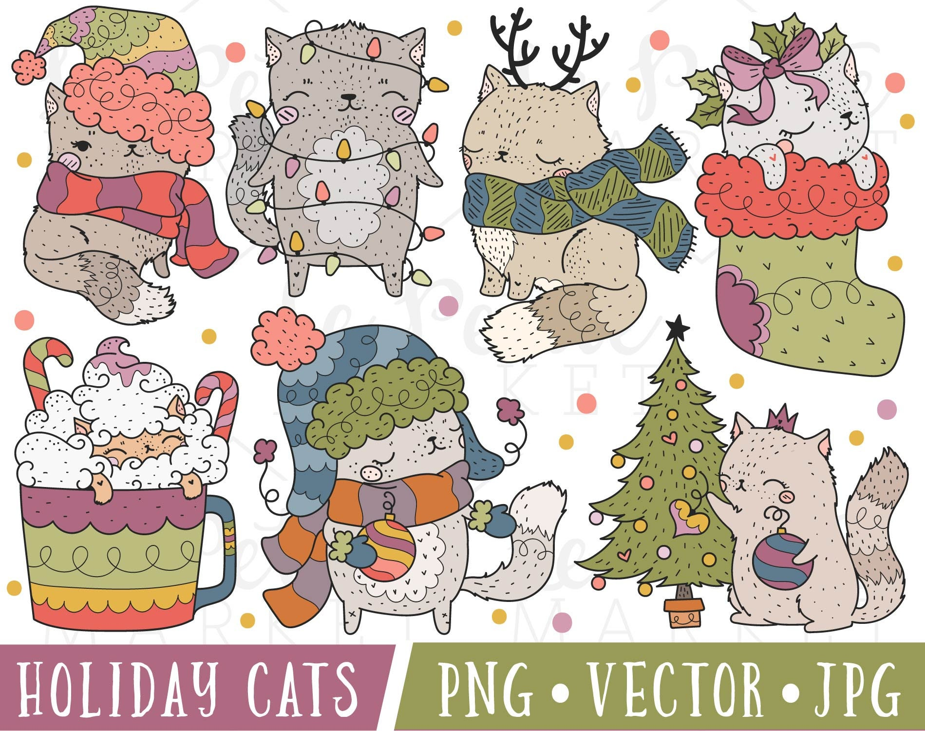 Holiday Cats Clipart Images Christmas Cat Clipart Cat | Etsy