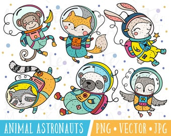 Cute Astronaut Clipart Images, Animal Astronauts Clipart, Cute Science Clipart, Clipart for Teachers, Woodland Astronauts, Kawaii Astronaut