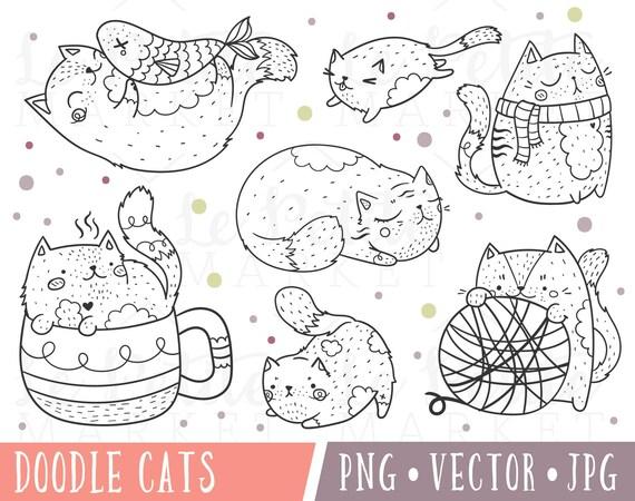 Imágenes Prediseñadas de lindo gato lindo gato Clip conjunto   Etsy