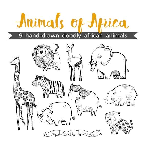 Mano dibuja lindo animales de África gráfico Ilustración hoja | Etsy